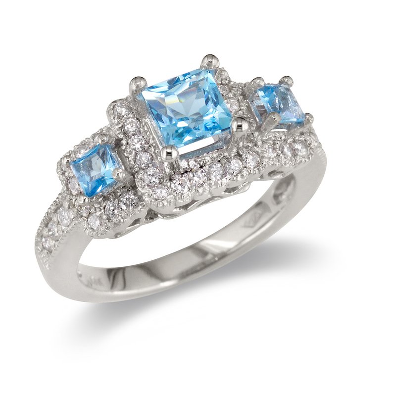 Gold Fire Diamonds Triple Blue Topaz Ring