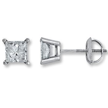 4 Prong Princess Stud Earring 3/4 ct W