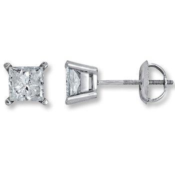4 Prong Princess Stud Earring 3/4 ct W
