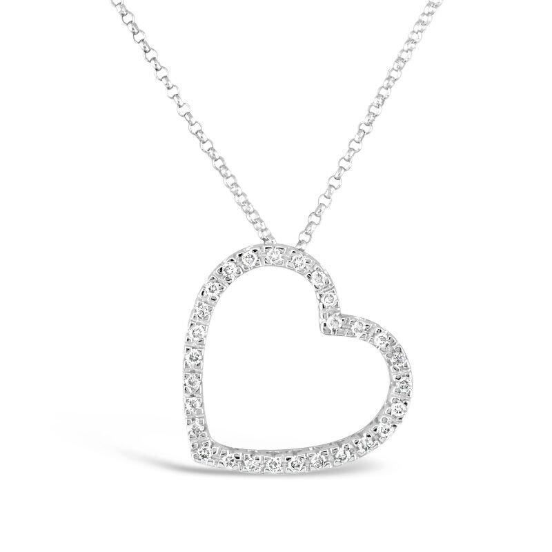 Gold Fire Diamonds Large Tilted Heart Pendant
