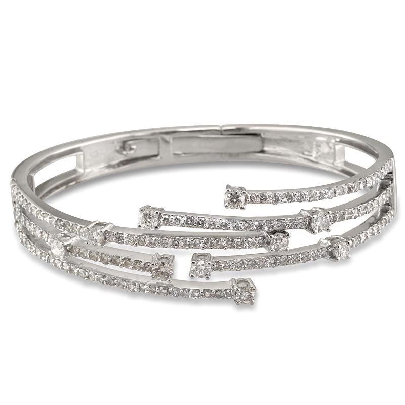 Gold Fire Diamonds Staggered 5 Row Bangle