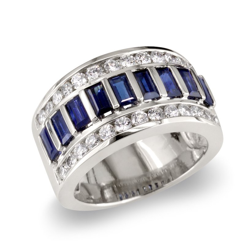 Gold Fire Diamonds Blue Sapphire & Diamond Wedding Band