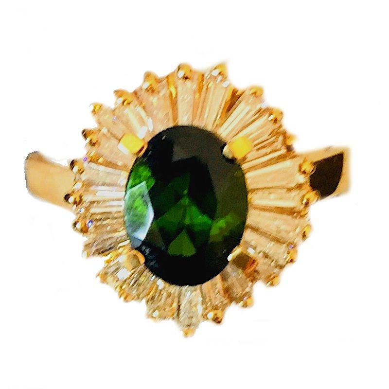 Gold Fire Diamonds Tourmaline/Baguette Oval Ring