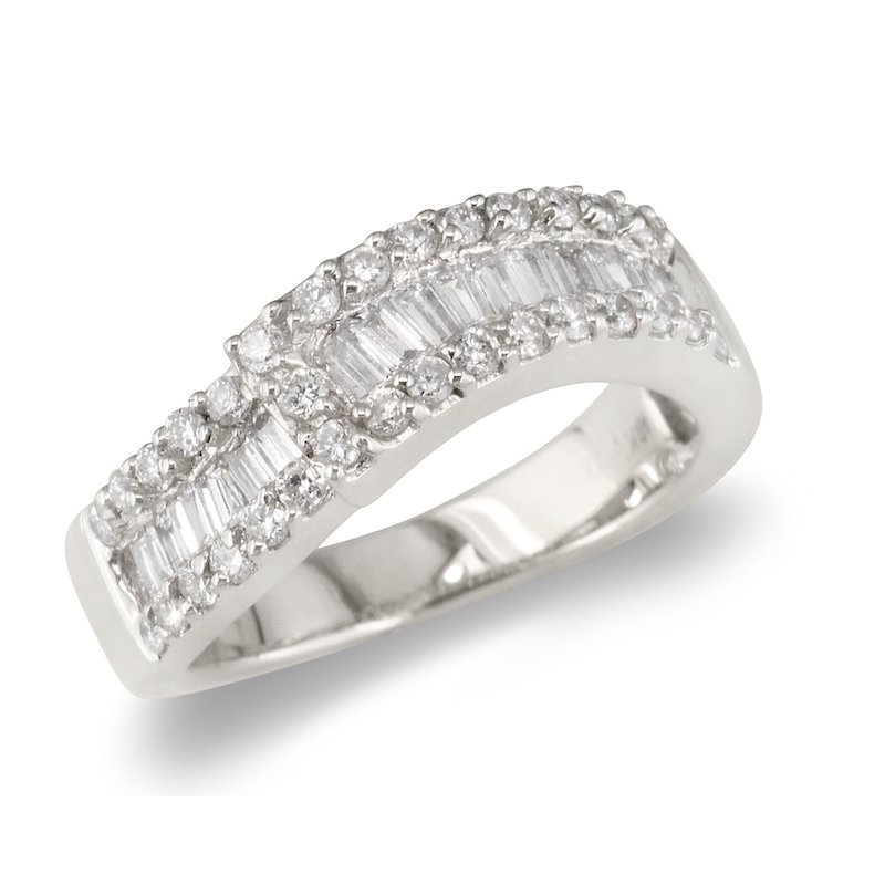 Gold Fire Diamonds Baguette & Round 2 Section Wedding Band
