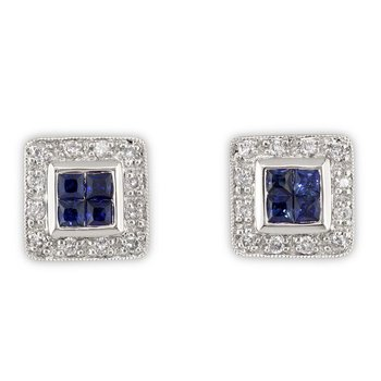 Square Diamond and Sapphire Studs