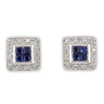 Square Diamond and Sapphire Studs