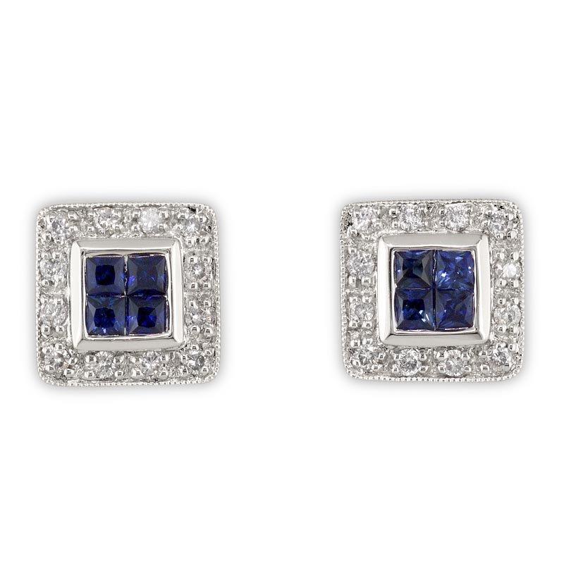Gold Fire Diamonds Square Diamond and Sapphire Studs