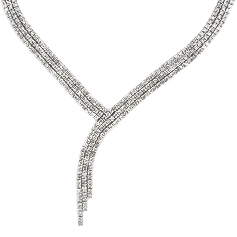 Gold Fire Diamonds Triple Row Necklace