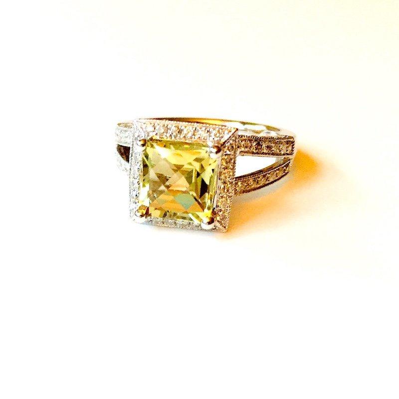Gold Fire Diamonds Lemon Quartz Cocktail Ring