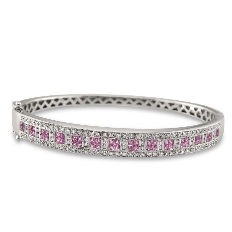 Gold Fire Diamonds Diamond and Pink Sapphire Bangle