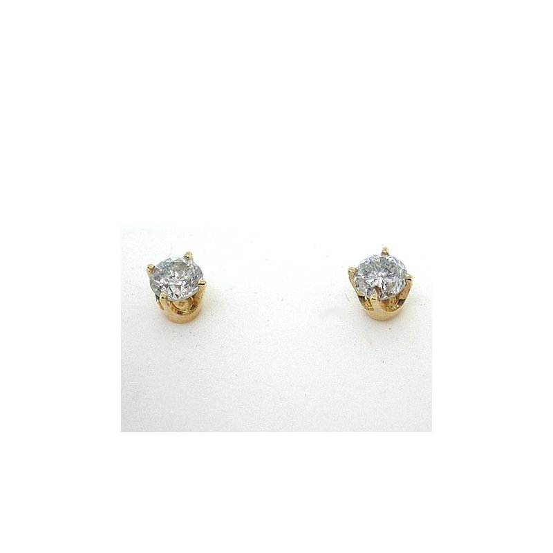 Gold Fire Diamonds 4 Prong Round Stud Earrings1/4 ct Y