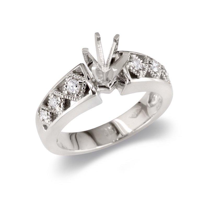 Gold Fire Diamonds Diamond Pattern Semi Mount
