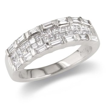 Baguette and Princess Wedding Band