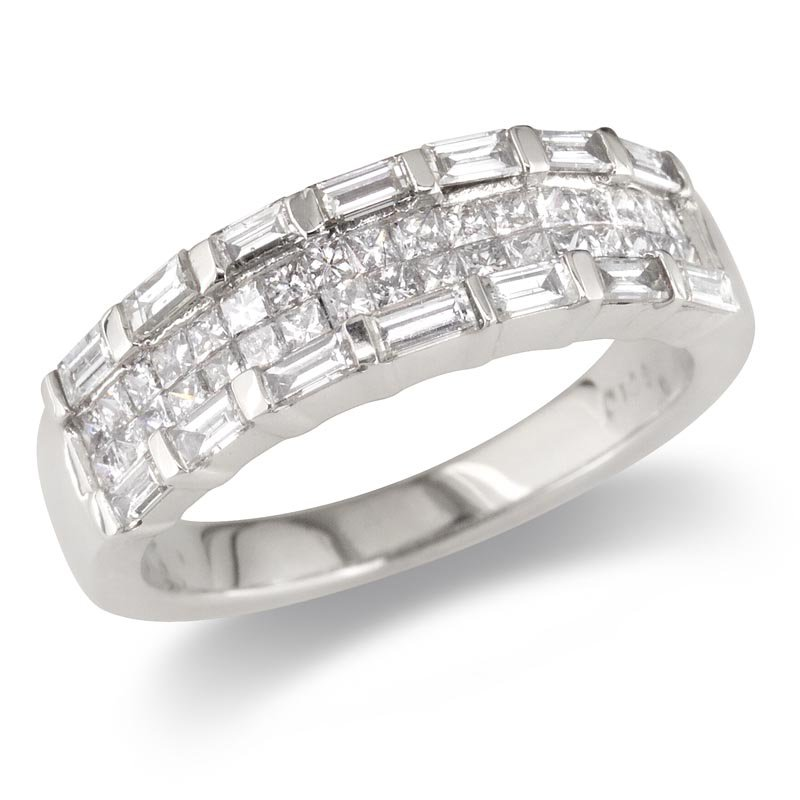 Gold Fire Diamonds Baguette and Princess Wedding Band