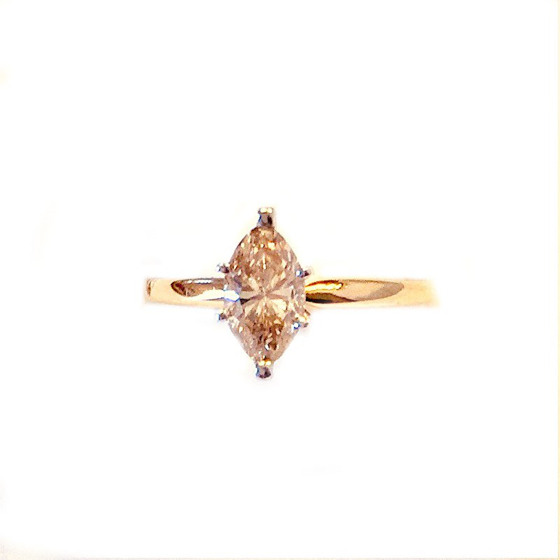 Gold Fire Diamonds Fancy Brown Marquise Solitaire