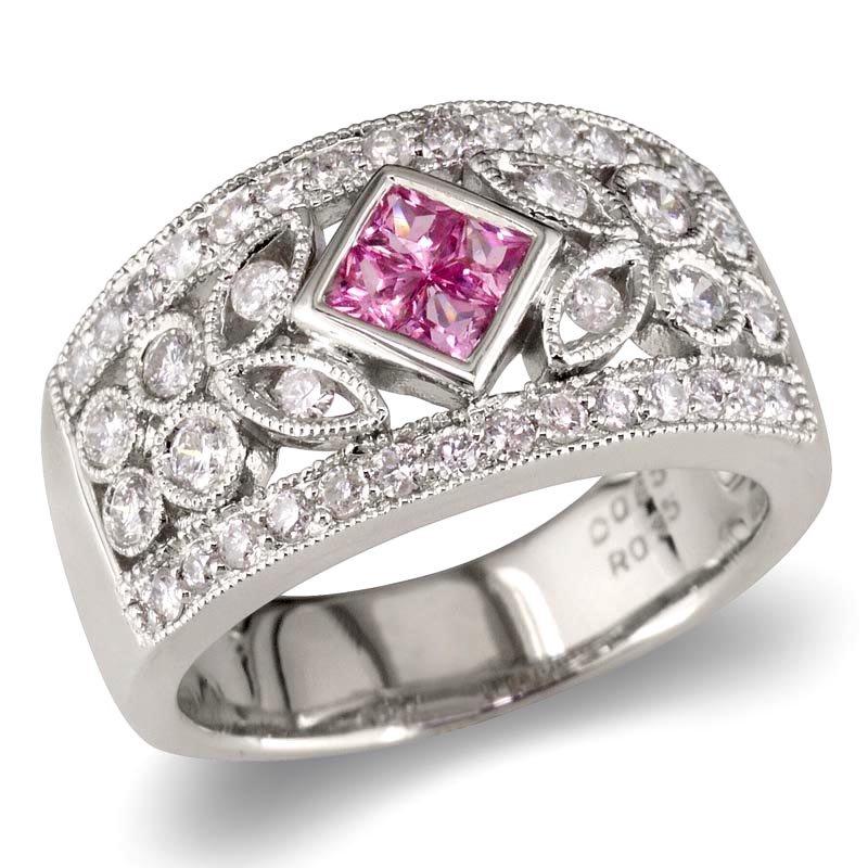 Gold Fire Diamonds Art Deco Pink Sapphire Wedding Band