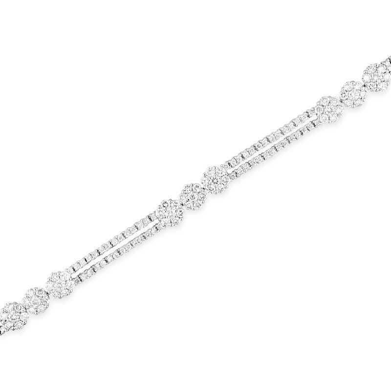 Gold Fire Diamonds Bar and Flower Cluster Bracelet