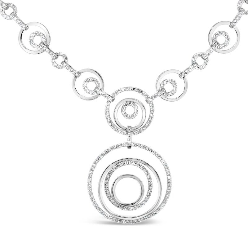 Gold Fire Diamonds Circle Link Necklace