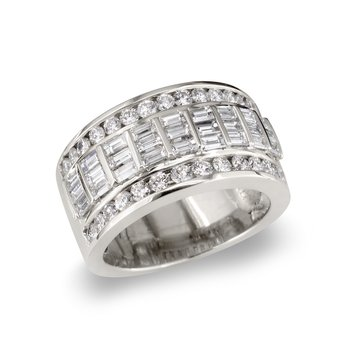 Wide Baguette & Round  Wedding Band