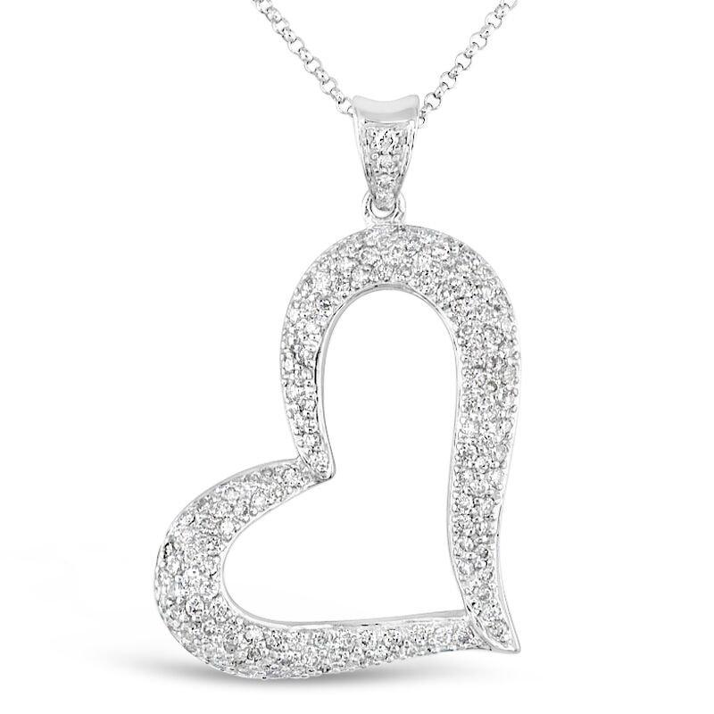 Gold Fire Diamonds Tilted Pave Heart Pendant