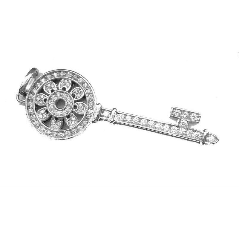 Gold Fire Diamonds Key Pendant