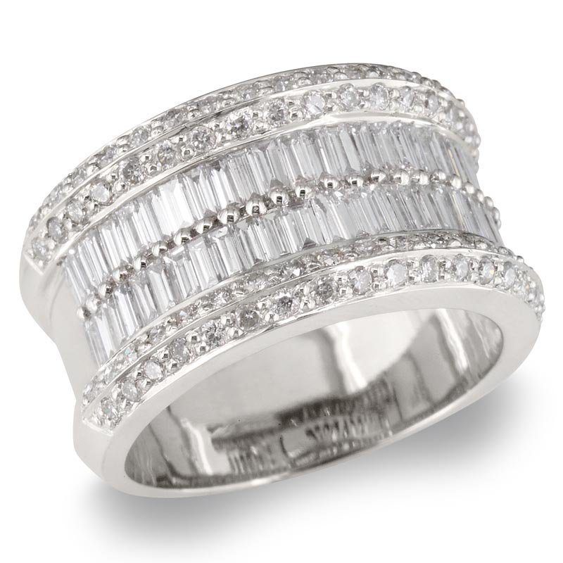 Gold Fire Diamonds Wide Round and Baguette Wedding Band
