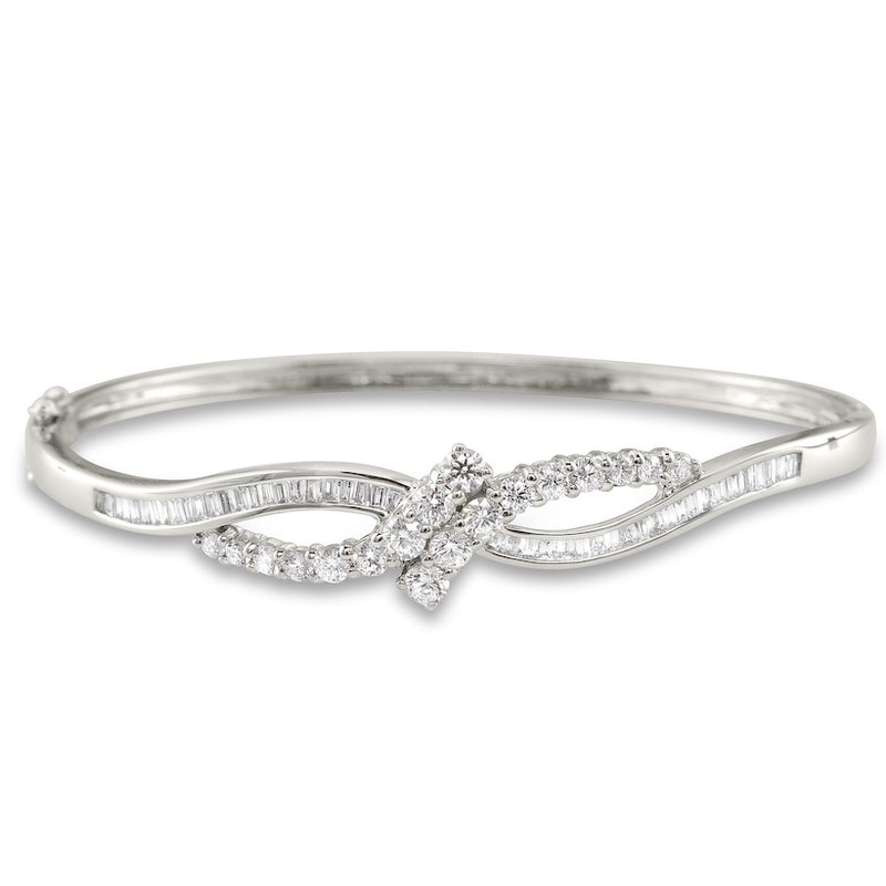 Gold Fire Diamonds Bow Bangle Bracelet