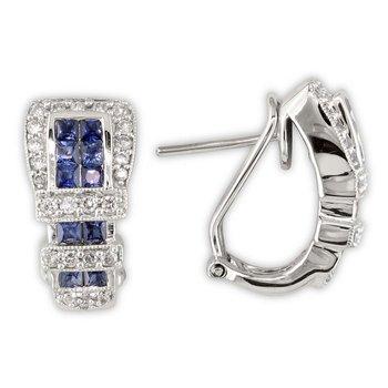 Diamond and Sapphire Buckle Earrings