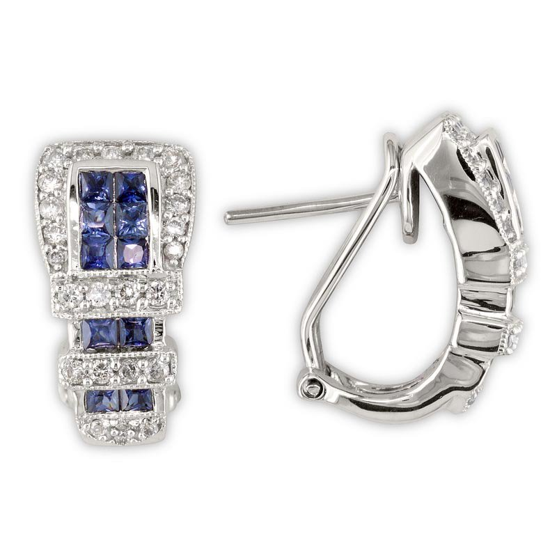 Gold Fire Diamonds Diamond and Sapphire Buckle Earrings