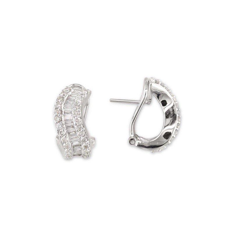 Gold Fire Diamonds Wavy Triple Row Earring