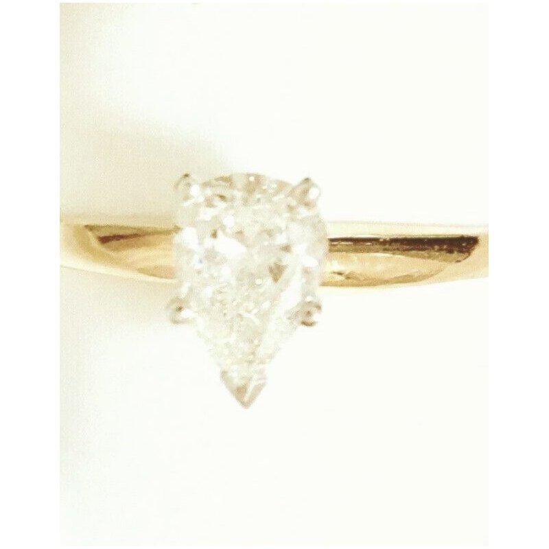 Gold Fire Diamonds Pear Shape Solitaire .62 ct
