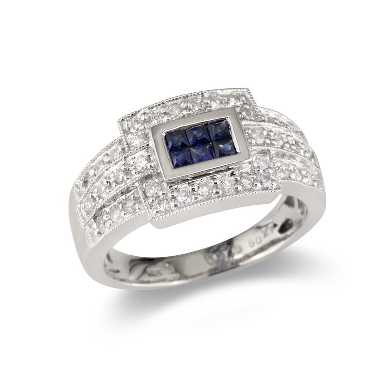 Gold Fire Diamonds  Sapphire and Diamond Cocktail Ring