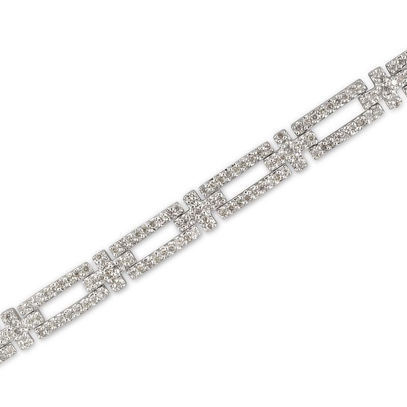 Gold Fire Diamonds Rectangle Cross Link Bracelet