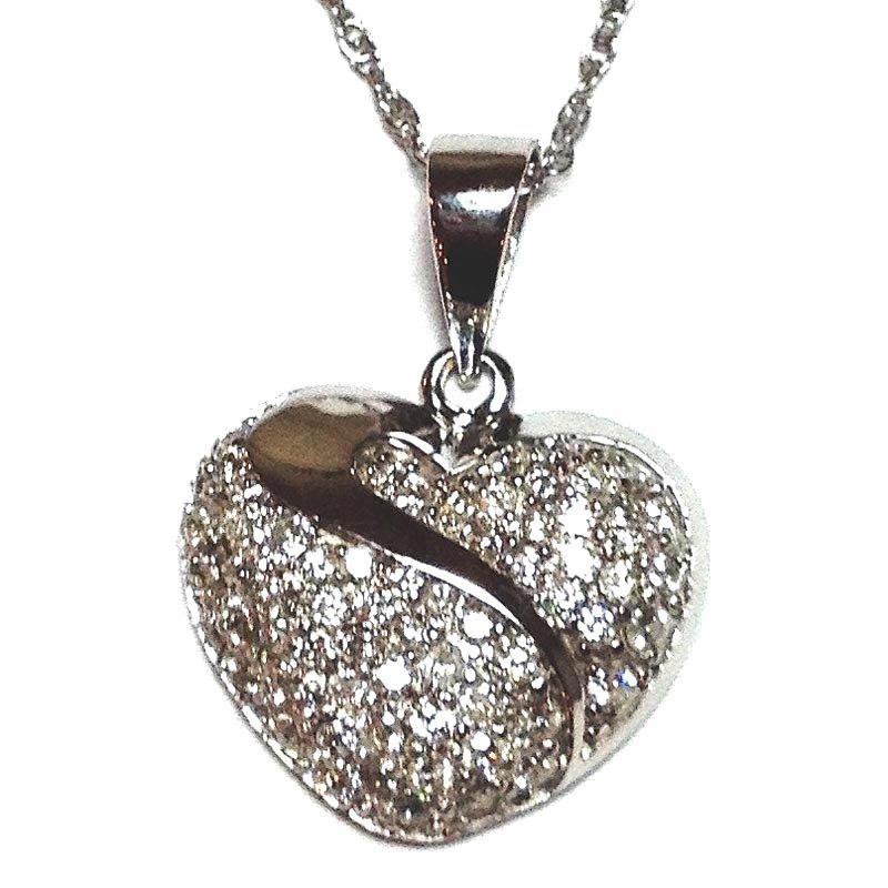 Gold Fire Diamonds Pave Heart Pendant