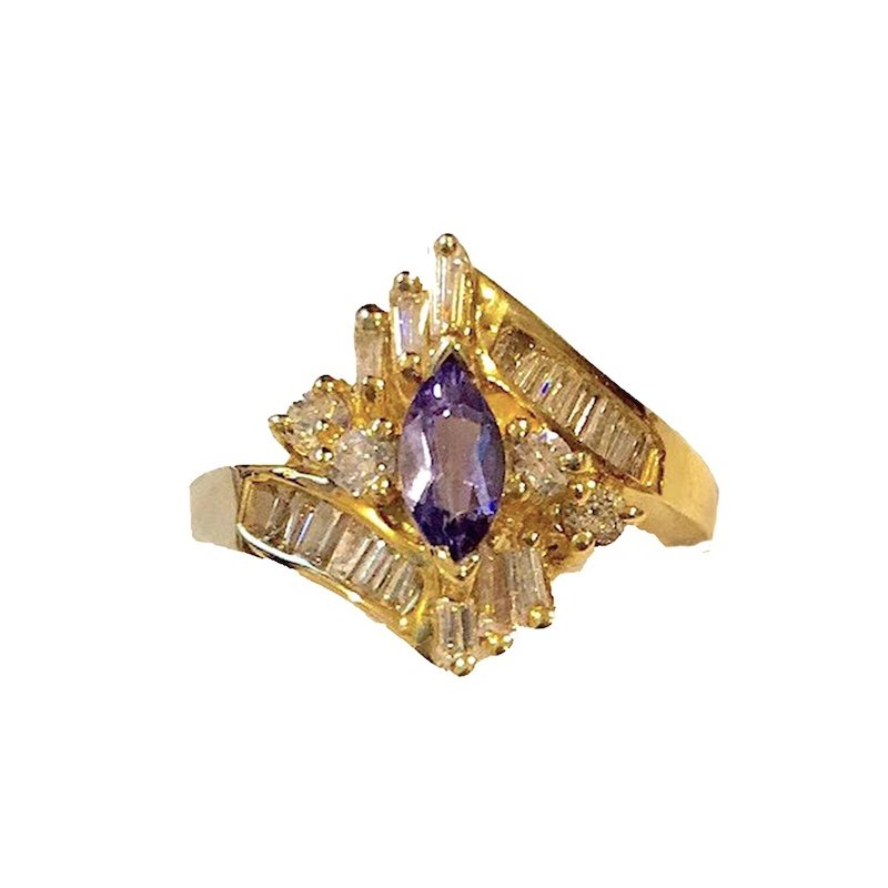 Gold Fire Diamonds Tanzanite Marquise Cocktail Ring