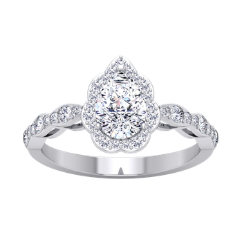 Certified 1 3/8ctw Pear Halo Diamond Engagement Ring