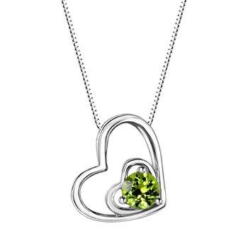 Peridot Double Heart Sterling Silver Pendant