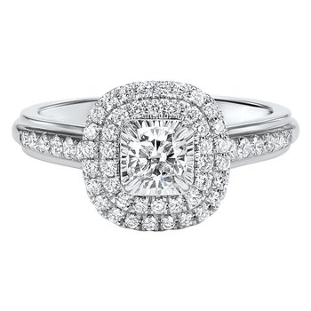 Princess Cut 3/4ctw Tru Reflections Double Halo Engagement Ring