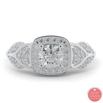 1.13 ctw Diamond Halo Engagement Ring