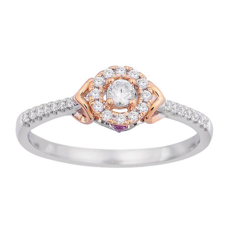 Saslow's & Henebry's Collection 1/5ctw Round Halo Promise Ring 10KW/R