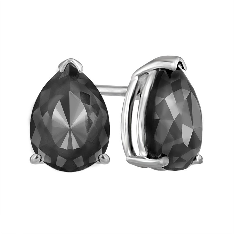 Saslow's & Henebry's Collection 2 ctw Black Diamond Pear Studs White Gold