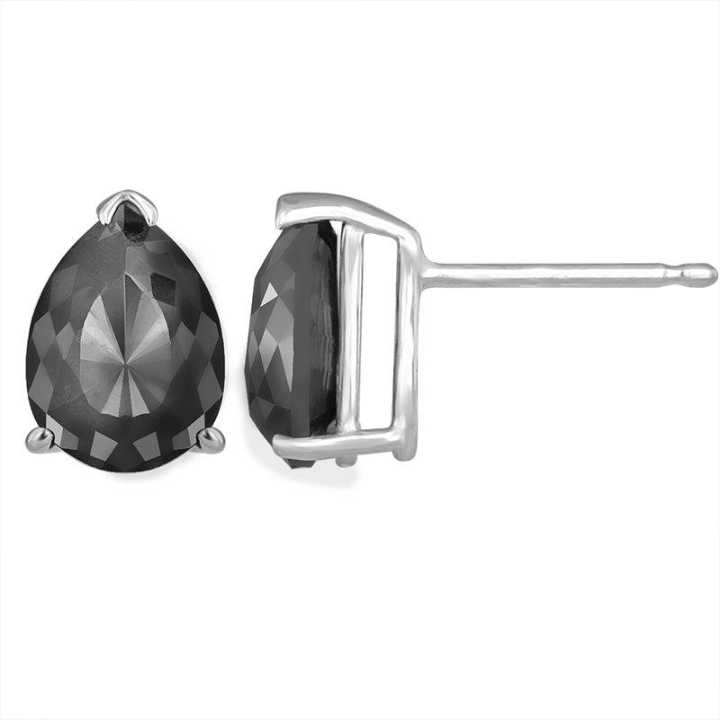 Saslow's & Henebry's Collection 2 ctw Black Diamond Pear Studs White Gold