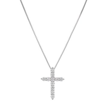 White Gold 1/3 ctw Diamond Cross Pendant
