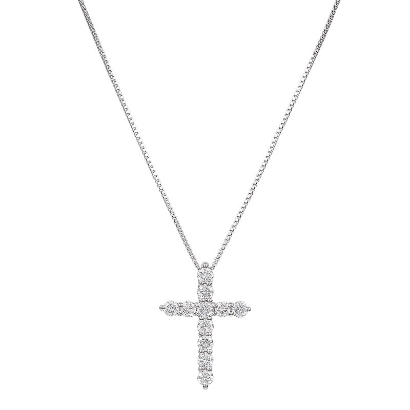 Lab Grown Diamonds White Gold 1/3 ctw Lab Grown Cross Pendant