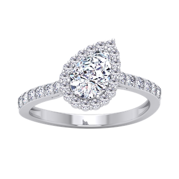 Certified 1 1/3ctw Pear Shaped Halo Engagement Ring
