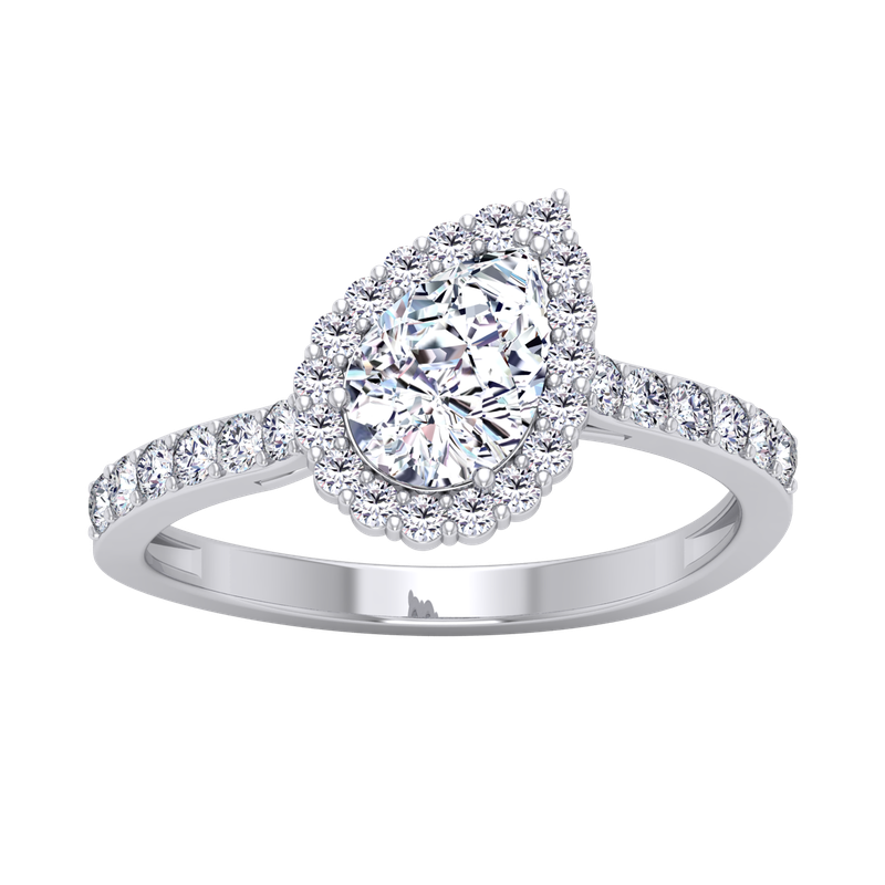 Lab Grown Diamonds Certified 1 1/3ctw Pear Shaped Halo Engagement Ring
