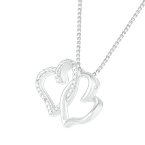 Gifts That Rock Two Interlocking Diamond Heart Pendant