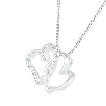 Two Interlocking Diamond Heart Pendant