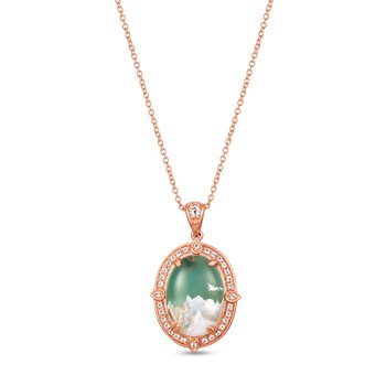 Rose Gold Aquaprase Oval Pendant