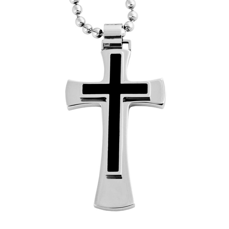 """Saslow's & Henebry's Collection 24"""""""" Steel/Ion Plating Cross Necklace"""